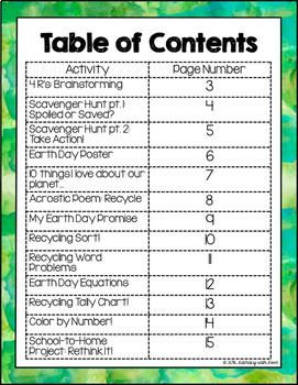 Earth Day Math & Literacy Packet