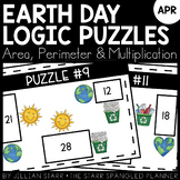 Earth Day Math Logic Puzzles- Area, Perimeter and Multiplication