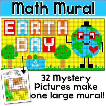 Earth Day Math Color by Number Mystery Pictures Mural Earth Day