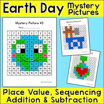 Earth Day Activities Math Color by Number Mystery Pictures Bundle