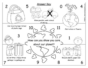 Earth Day- Math Subtraction Mystery Picture