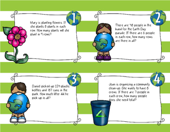 Earth Day Math Task Cards (3rd grade)