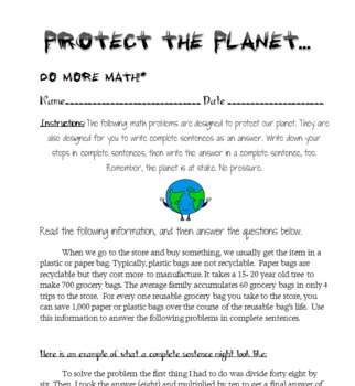Earth Day Math Word Problems!
