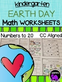 Earth Day Math Worksheets for Kindergarten