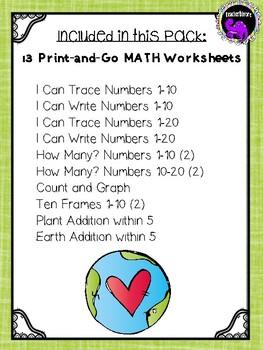 Earth Day Math Worksheets for Kindergarten