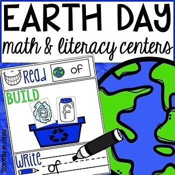 Earth Day Math and Literacy Centers for Preschool, Pre-K,