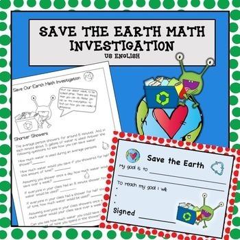 Earth Day Environmental Math Problem Solving NO PREP US