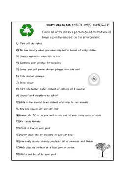 Earth Day - Middle School - 5 Activities - Reading Vocab WordSearch