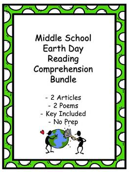 Earth Day - Middle School - Reading Comprehension - Key Included - 4 passages