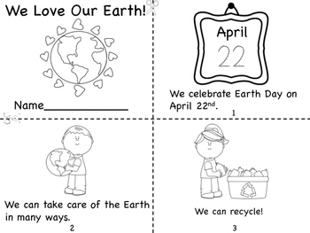 We Love Our Earth Mini Book and Coloring Pages