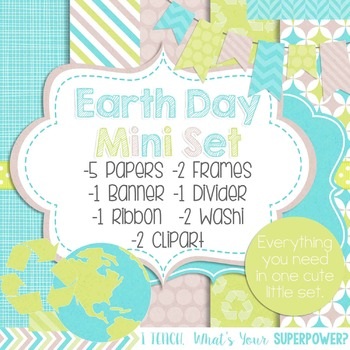 Digital Paper and Frame Mini Set Earth Day