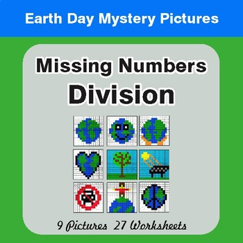 Earth Day: Missing Numbers Division - Color-By-Number Mystery Pictures