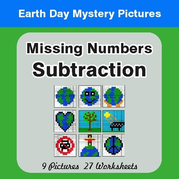 Earth Day: Missing Numbers Subtraction - Color-By-Number Mystery Pictures