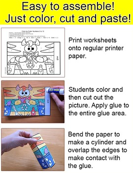 Earth Day Math - Recycle Monsters Color by Number Earth Day Craft