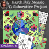 *Earth Day Mosaic - Collaborative Coloring Sheets - Radial