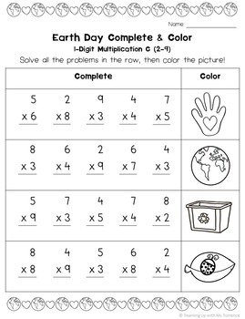 Earth Day Multiplication Complete & Color