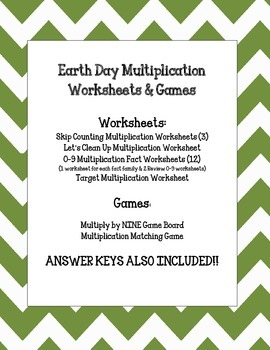 Earth Day Multiplication Pack. Worksheets and Games. Math Centers