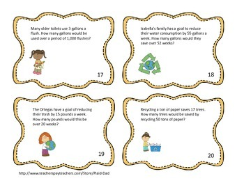 Earth Day Multiplication Task Cards