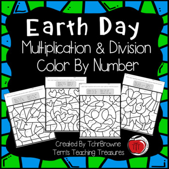 Earth Day Multiplication and Division Color by Number