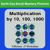 Earth Day Multiplication by 10, 100, 1000 - Color-By-Numbe