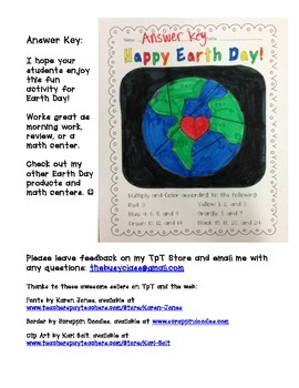 Earth Day: Multiply and Color Activity