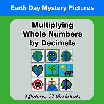 Earth Day: Multiplying Whole Numbers by Decimals - Math Mystery Pictures
