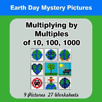 Earth Day: Multiplying by Multiples of 10, 100, 1000 - Math Mystery Pictures