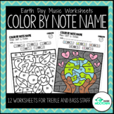 Earth Day Music Worksheets: Color by Note Name