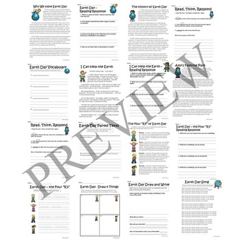 Earth Day No Prep Activity Packet Printable Worksheets