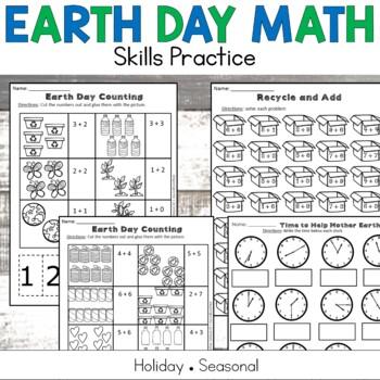 Earth Day No Prep Math Printables Grades K-2