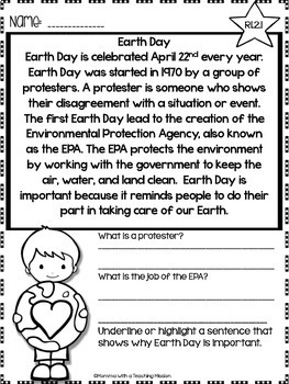 Earth Day Non-fiction Passages
