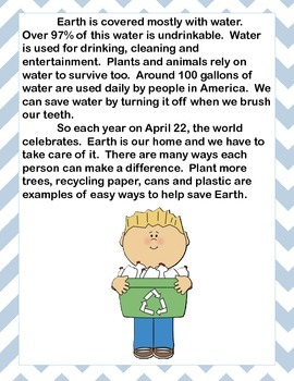 Earth Day: Nonfiction Text, Comprehension, Grammar, Writing