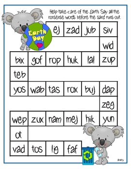 Earth Day Nonsense Word Practice
