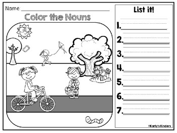 Earth Day Noun & Verb Color it