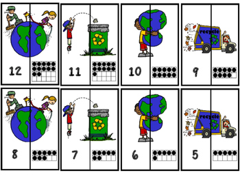 Earth Day Number Matching Puzzles 1-20