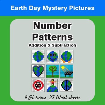 Earth Day: Number Patterns: Addition & Subtraction - Mystery Pictures