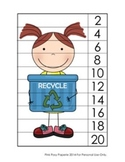 Earth Day Number Strip Puzzles - 5 Designs - Skip Count by 2