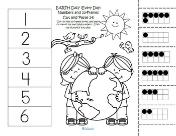 Earth Day Tally Marks and 10-Frames Cut and Paste Match to 12 FREE
