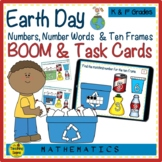 Earth Day Numbers, Number Words & Ten Frames BOOM & Task Cards Match Game