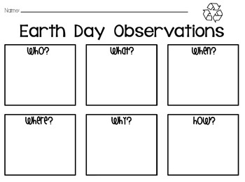 Earth Day Observations Worksheet