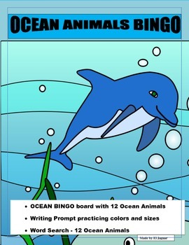 OCEAN Animals Bingo- Pre K-2 - Writing Prompt- World Water Day- March 22