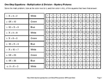 Earth Day: One Step Equations: Multiplication & Division Mystery Pictures