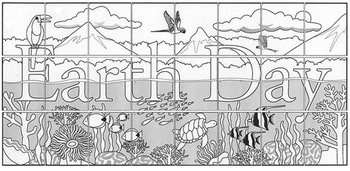 Earth Day Tropical Mural Template