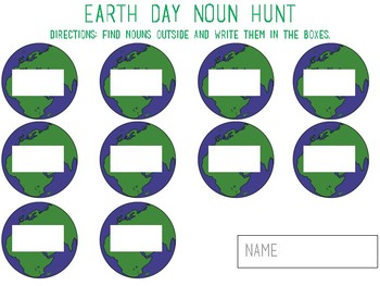 Earth Day Parts of Speech Scavenger Hunt