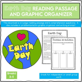Earth Day Passage, Graphic Organizer and Writing Prompt