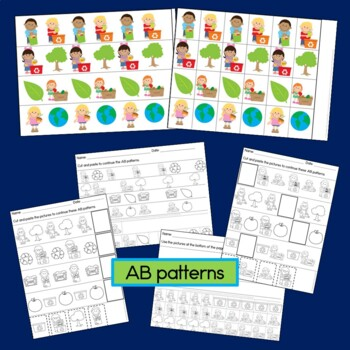 Earth Day Patterns Math Center with AB, ABC, AAB & ABB patterns