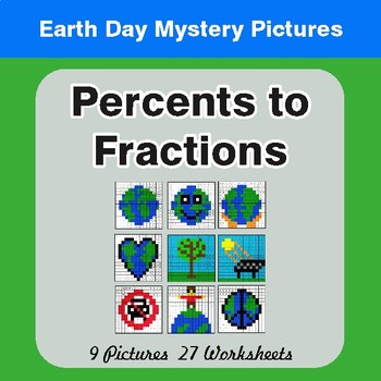 Earth Day: Percents to Fractions - Color-By-Number Mystery Pictures