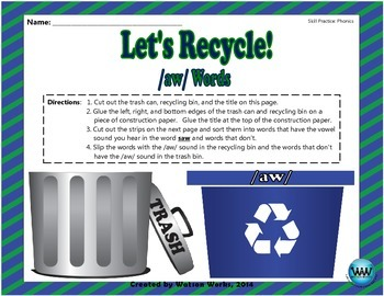 Earth Day Phonics Activity for /aw/ Words
