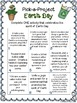 Earth Day Pick A Project Writing Activities, Choice Boards, Rubric