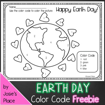 Earth Day Color by Number FREEBIE!